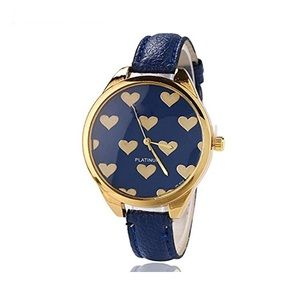 Women's Watch with Heart Design Details Blue/Gold